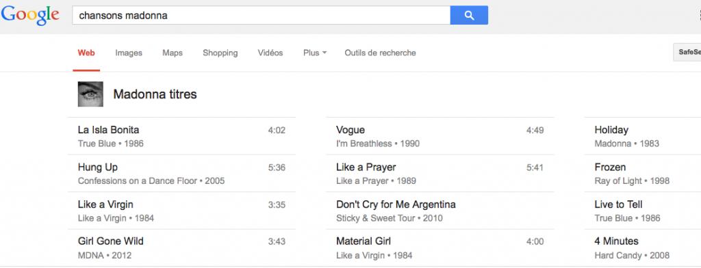 Chansons sur Google
